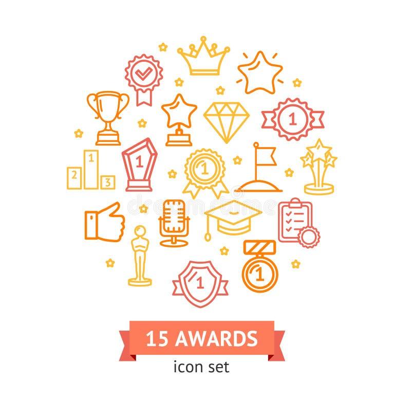 El premio firma alrededor de la línea concepto de la plantilla del diseño del icono Vector ilustración del vector