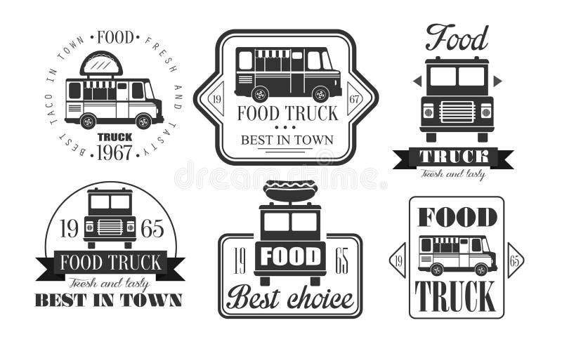 El premio Logo Templates Set retro, mejor del camión de la comida en ciudad, monocromo sabroso del vintage de los alimentos de pr ilustración del vector