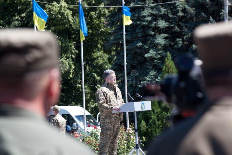 El presidente de Ucrania Petro Poroshenko está hablando en el ceremon fotos de archivo libres de regalías