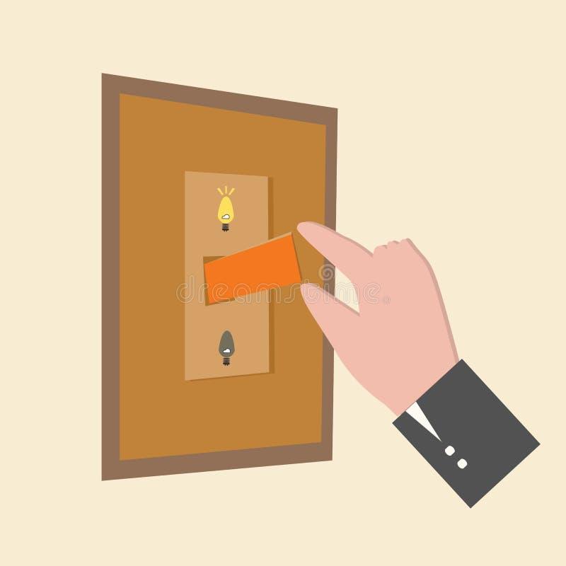 El presionar del finger con./desc. stock de ilustración