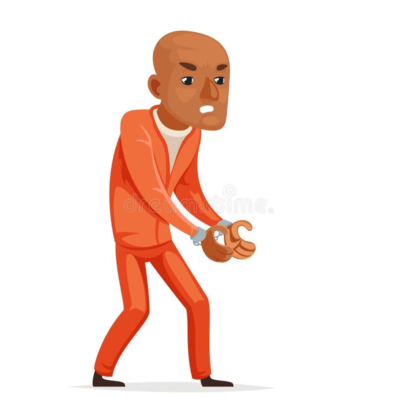 El preso afroamericano europeo del Afro cogido esposa diseño aislado carácter asustado ladrón de la historieta de los iconos del  ilustración del vector