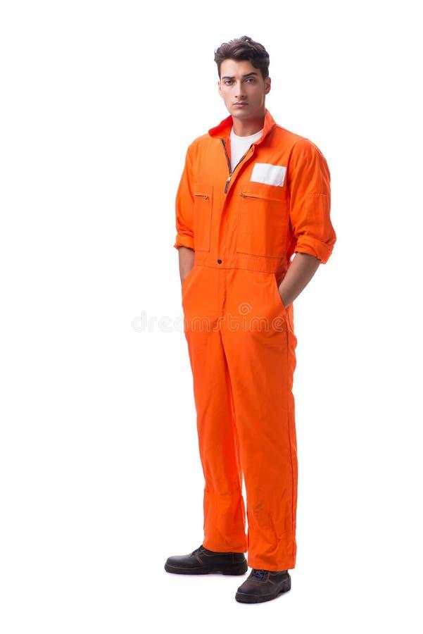 El preso en el traje anaranjado aislado en el fondo blanco fotos de archivo libres de regalías