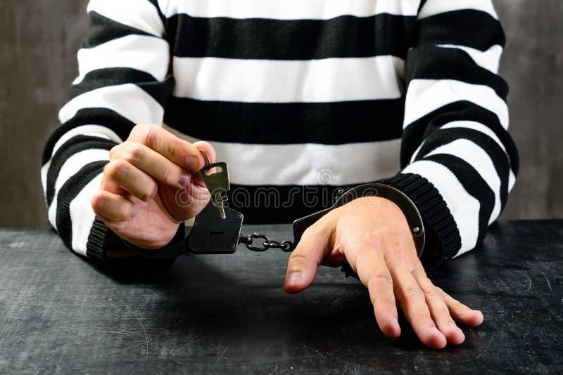 El preso no identificado en la prisión peló la sentada uniforme en foto de archivo