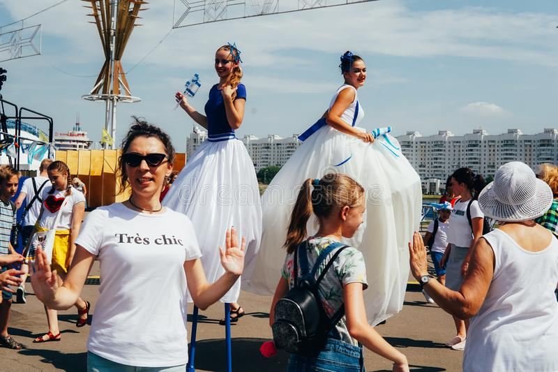 El primer día de 2dos juegos europeos El palacio principal de deportes, Minsk de la zona de la fan imágenes de archivo libres de regalías