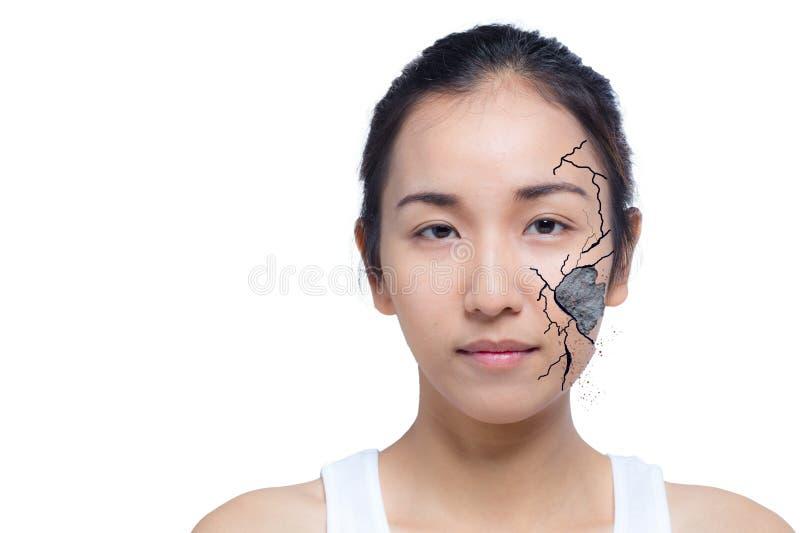El primer de la mujer agrietó y dañó la cara como el cosmético y deshidratación fotografía de archivo