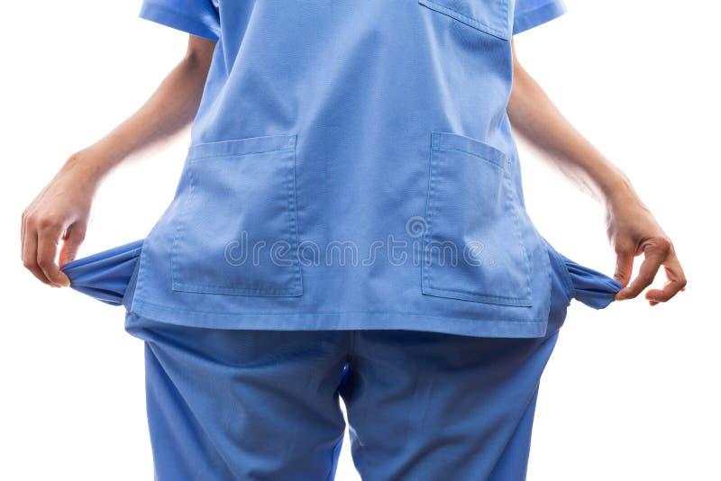 El primer de rompió las manos femeninas de la enfermera que sacaban los bolsillos vacíos foto de archivo