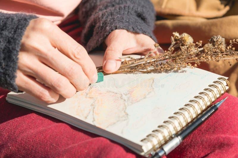 El primer de un artista de la muchacha de la mano pinta un pastel en un cuaderno en la naturaleza en las montañas Creatividad lib fotografía de archivo
