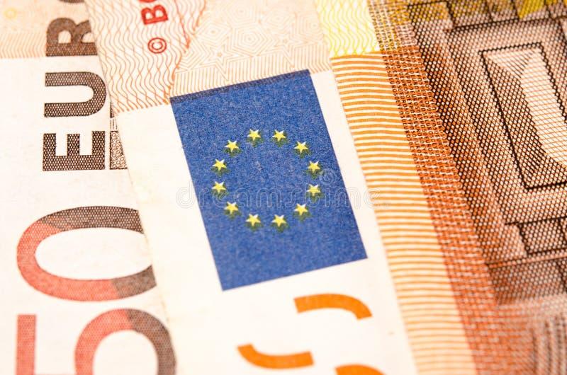 El primer del euro de la denominación cincuenta del billete de banco fotografía de archivo