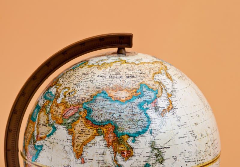 El primer del globo con China y Asia foto de archivo libre de regalías
