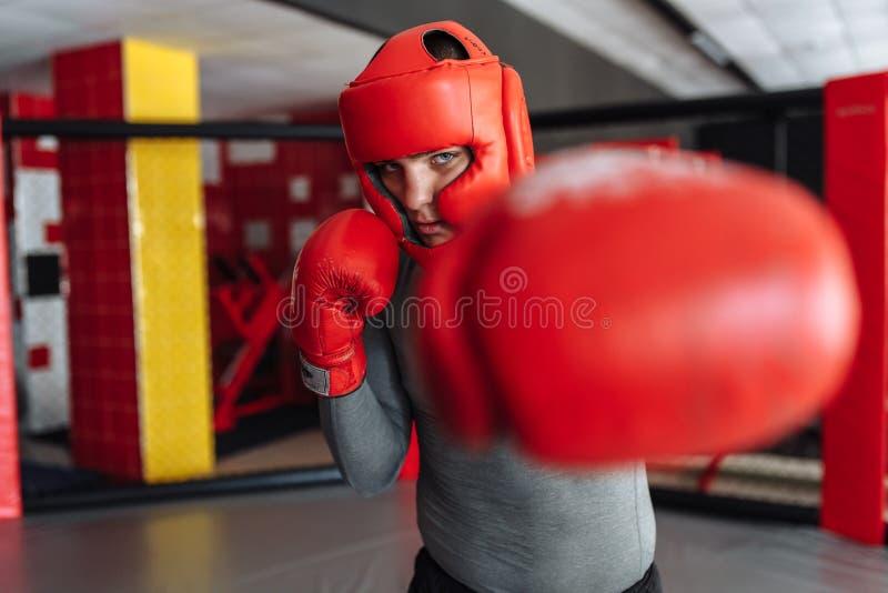 El primer del guante de boxeo, el boxeador de sexo masculino enganchó al entrenamiento en el gimnasio, en una jaula para una luch imagen de archivo libre de regalías