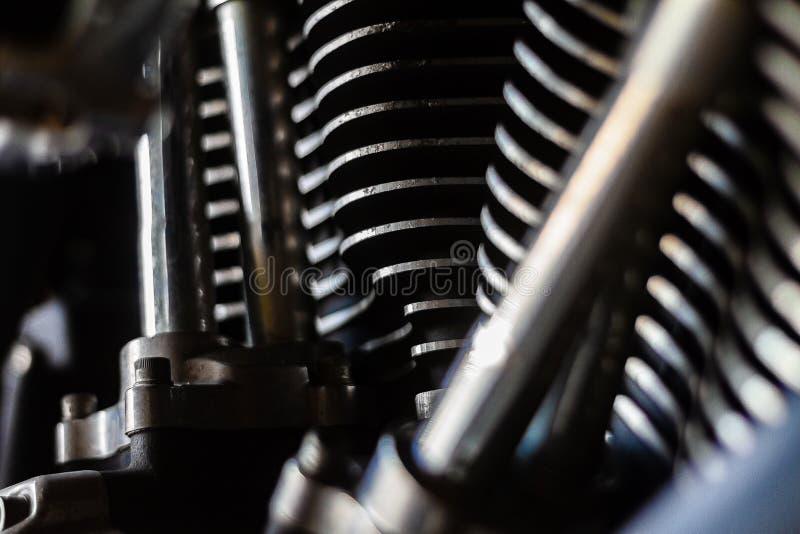 El primer tiró de un americano v-gemelo montado pozo hecho motor de la motocicleta imagen de archivo libre de regalías