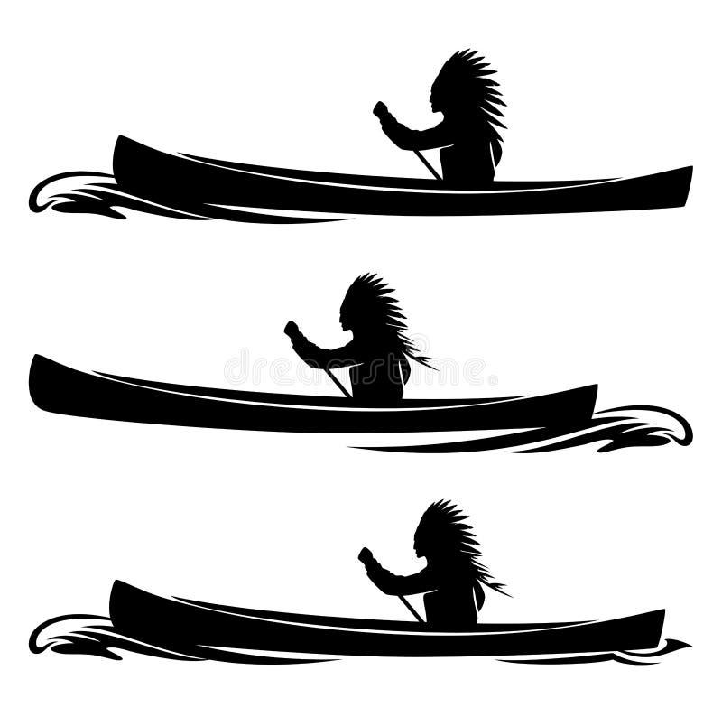 El principal remar del nativo americano en silueta del vector del barco de la canoa libre illustration