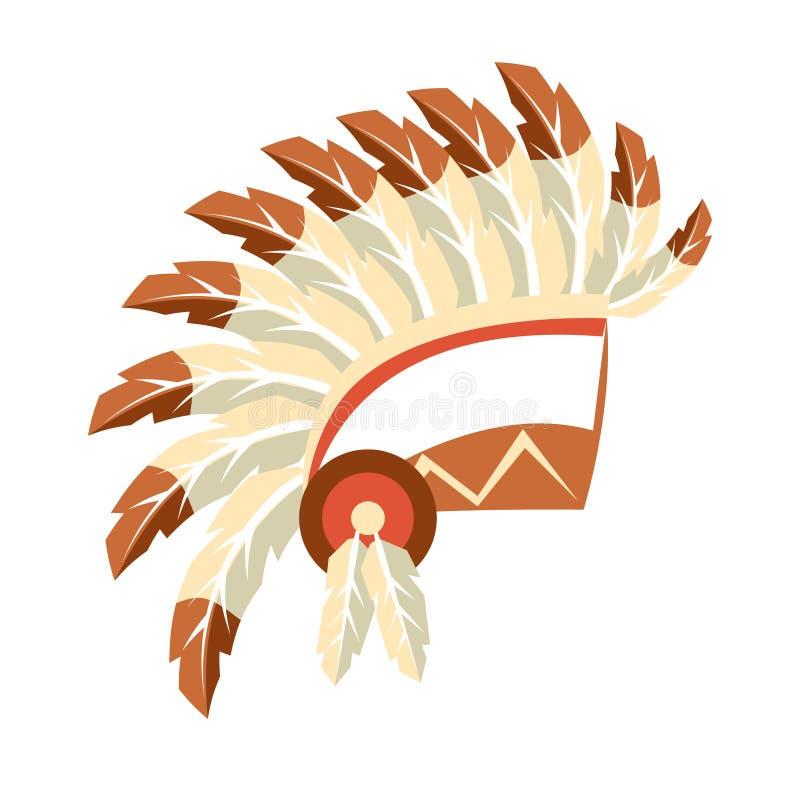El principal tocado del capo de la guerra, símbolo indio de la cría del nativo americano, objeto étnico de Norteamérica aisló el  ilustración del vector