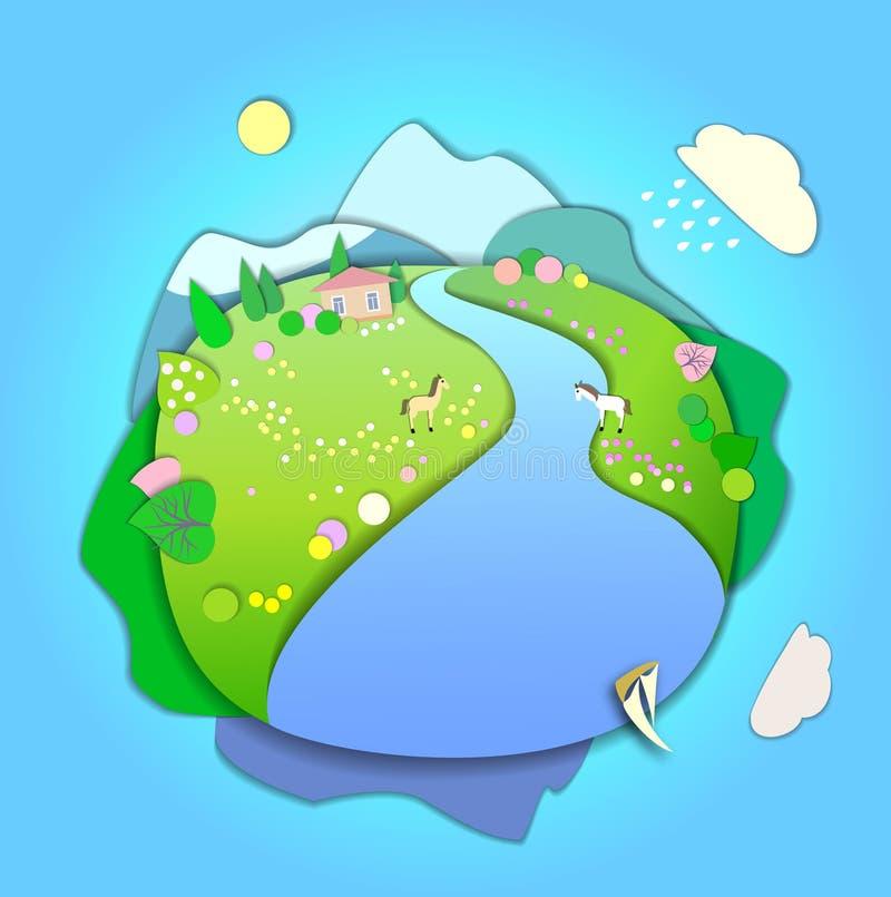 El principio del resorte Cambio del concepto de estaciones Concepto del globo stock de ilustración