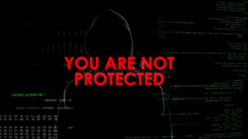 El problema de la privacidad de Cybersecurity, información personal necesita la protección, cortando foto de archivo libre de regalías
