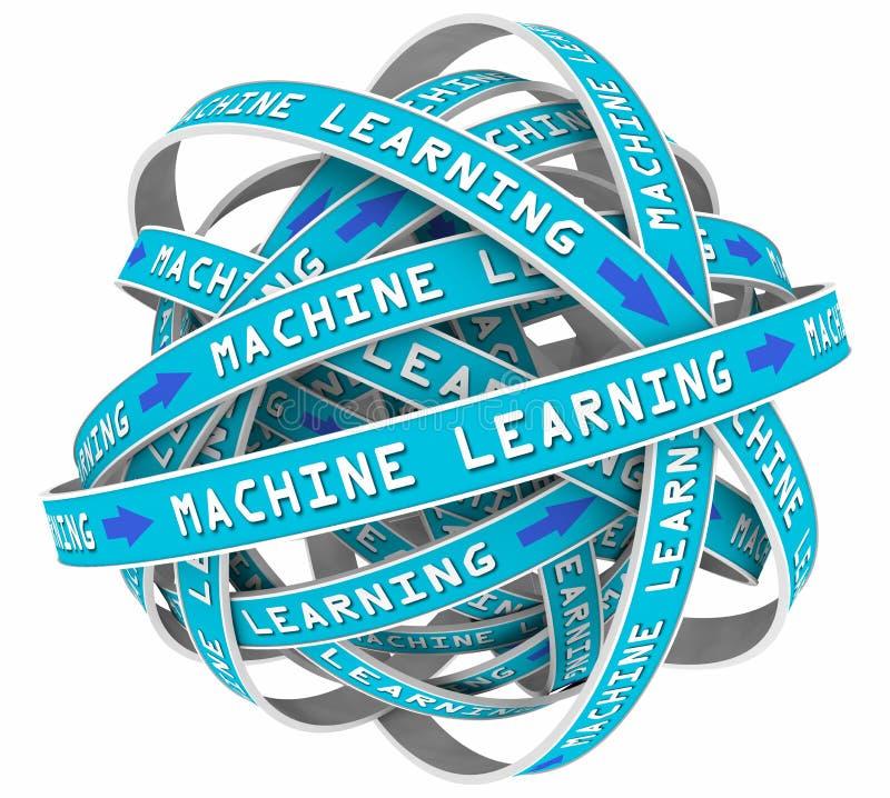 El proceso de aprendizaje de máquina coloca la inteligencia artificial del AI de la entrada libre illustration