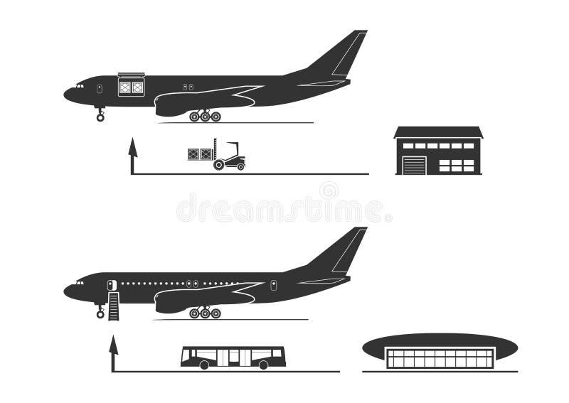 El proceso del cargamento y de la descarga de los aviones libre illustration