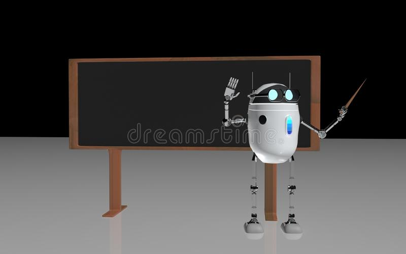 El profesor 3d del robot rinde stock de ilustración