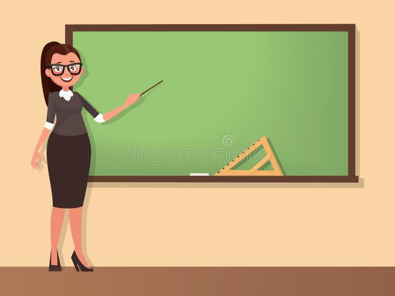 El profesor de la mujer joven se coloca en una pizarra con un indicador Templ ilustración del vector