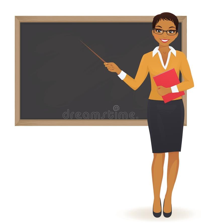 El profesor en la pizarra stock de ilustración
