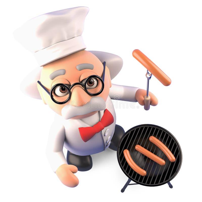 El profesor enojado hambriento del científico cocina un Bbq delicioso de la barbacoa, ejemplo 3d stock de ilustración
