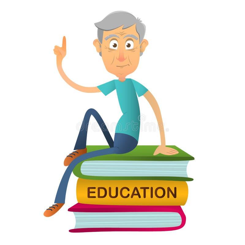El profesor mayor del hombre lee sentarse en la pila de libros gigantes Concepto de educación para los ancianos Ilustración de la libre illustration