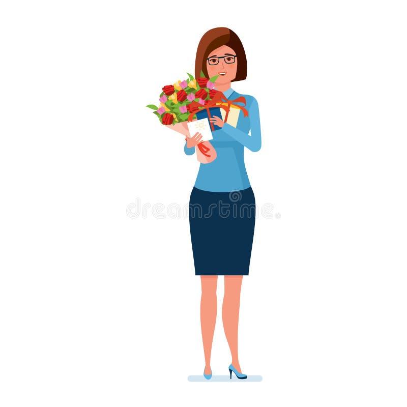 El profesor sostiene las flores, los presentes y una postal el día de los profesores ilustración del vector
