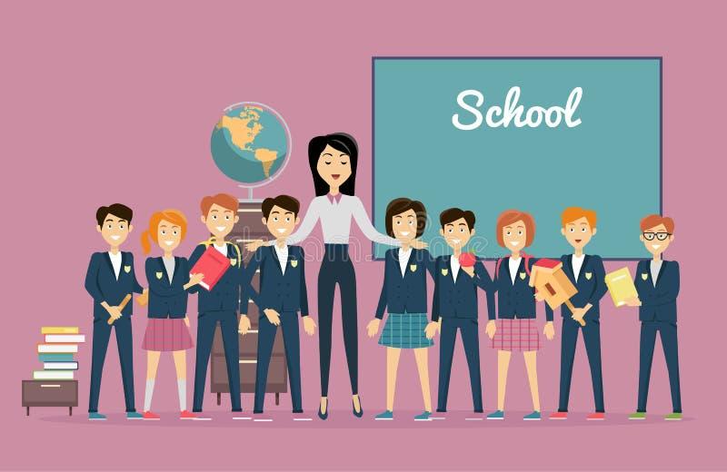 El profesor y los alumnos acercan a la pizarra De nuevo a escuela ilustración del vector