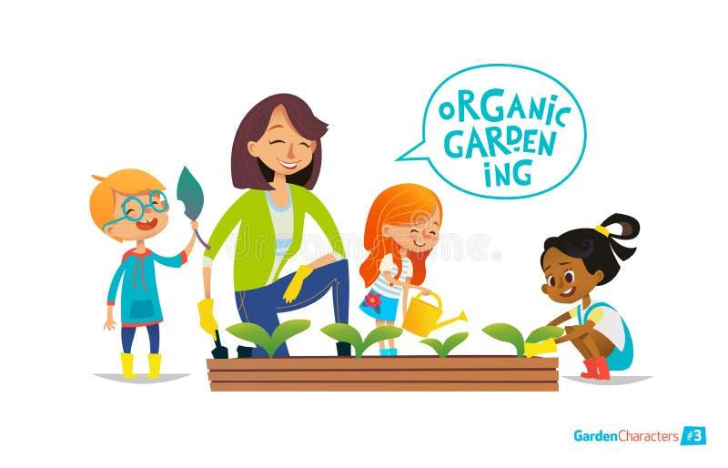 El profesor y los niños engancharon a cultivar un huerto en el patio trasero libre illustration