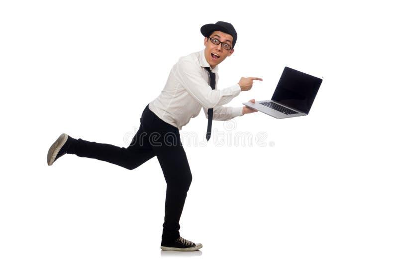 El programador de sexo masculino divertido joven aislado en blanco fotografía de archivo