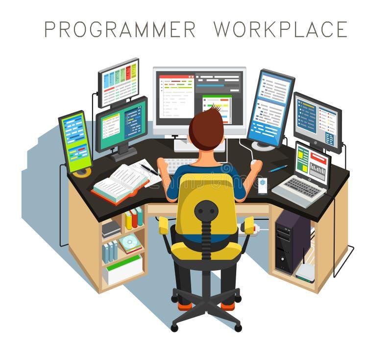 El programador escribe código Ilustración del vector stock de ilustración