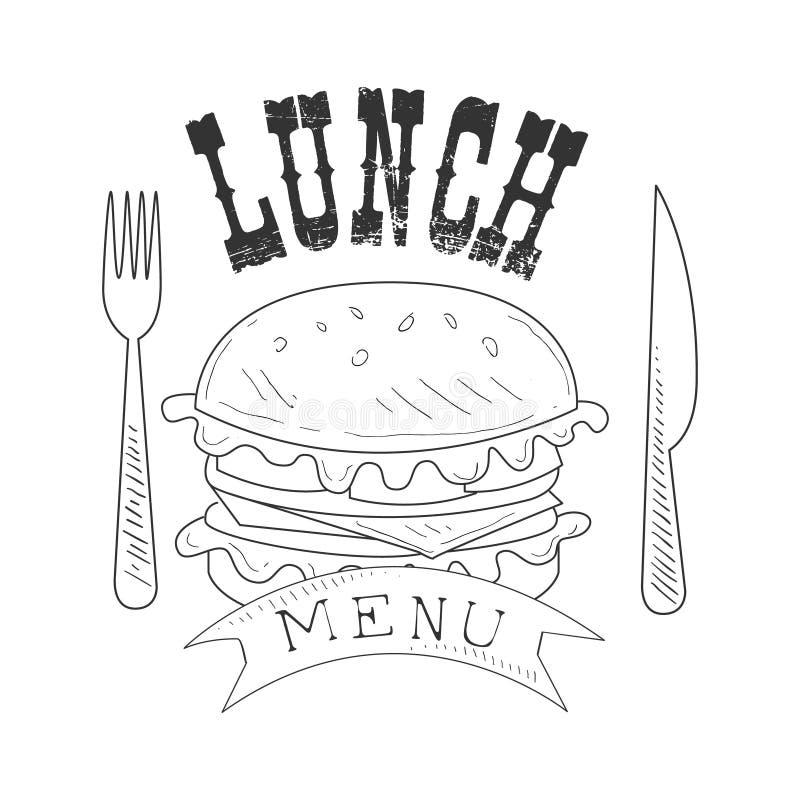 El promo del menú del almuerzo del café firma adentro estilo del bosquejo con la hamburguesa, la bifurcación y el cuchillo, plant libre illustration