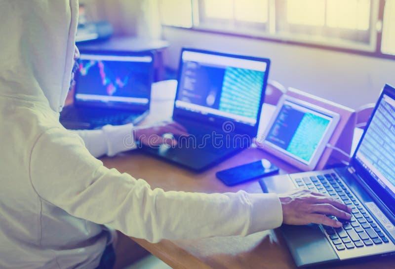 El promotor está diseñando software en la carta de papel con el ordenador y la tableta multi fotos de archivo libres de regalías
