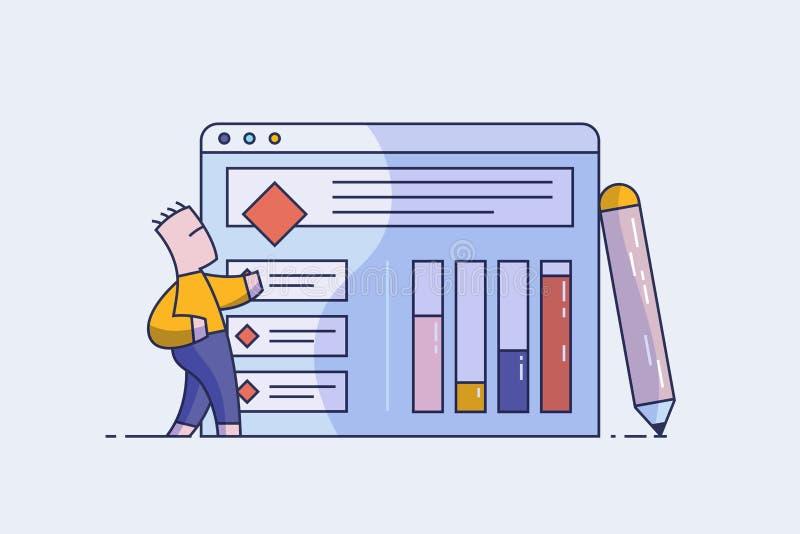El promotor o el diseñador de web está trabajando en crear un interfaz del sitio Drenaje UI, UX del concepto Línea ejemplo del ve ilustración del vector