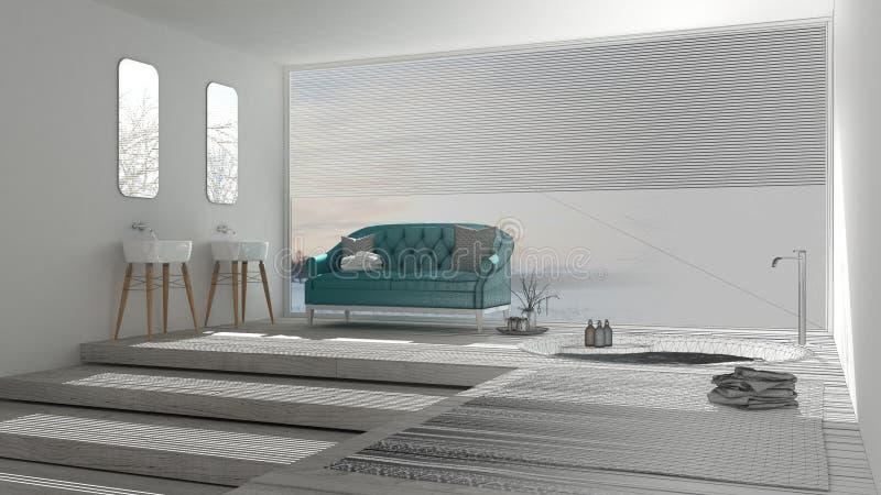 El proyecto inacabado del cuarto de baño clásico con la ventana grande, bosqueja a stock de ilustración