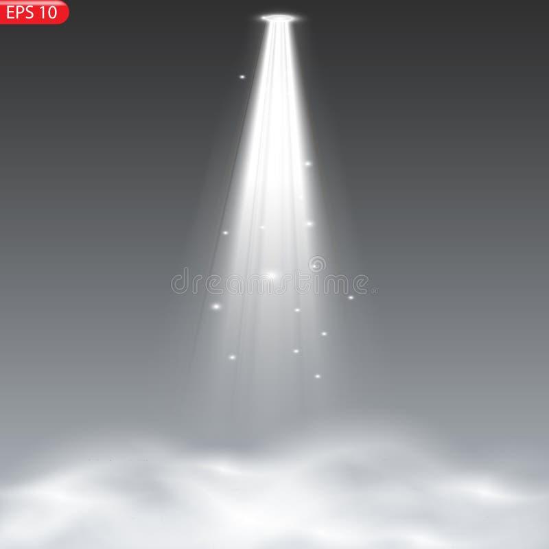 El proyector brilla en la etapa ilustración del vector
