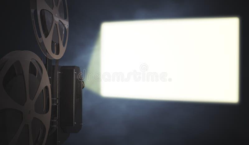 El proyector de película del vintage está proyectando la pantalla en blanco en la pared 3D rindió la ilustración ilustración del vector