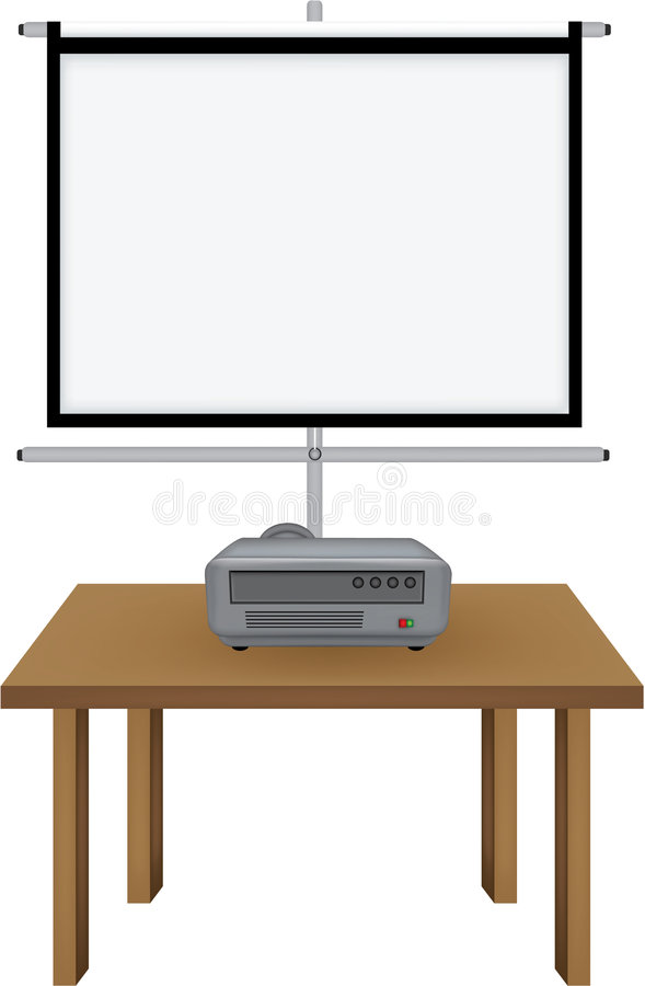 El proyector y projectorscreen ilustración del vector