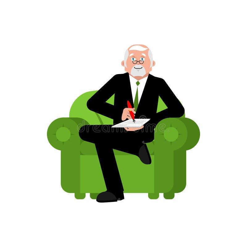 El psicólogo en silla escribe Consulta del psicoterapeuta S libre illustration