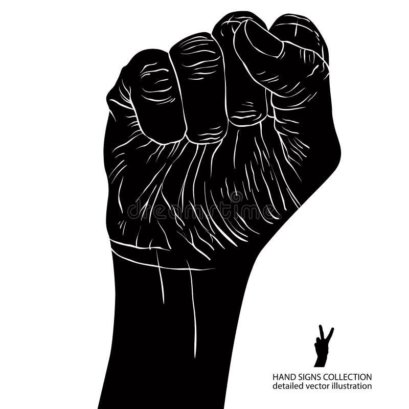 El puño apretado llevó a cabo alto en la muestra de la mano de la protesta, negro detallado y stock de ilustración