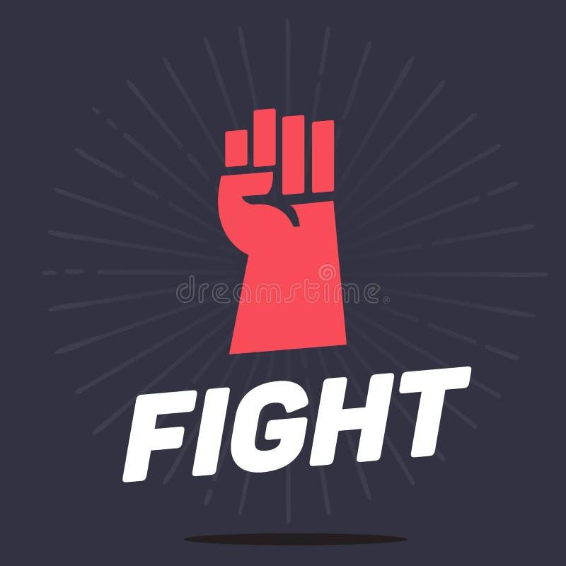 El puño da encima de icono con el concep tipográfico, de la lucha y de la revolución libre illustration