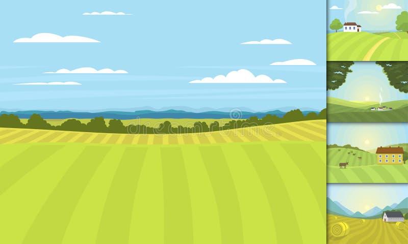 El pueblo ajardina el campo del gráfico de la agricultura de la casa de la granja del ejemplo del vector libre illustration