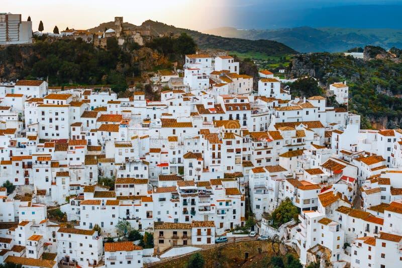 El pueblo blanco del pueblo blanco Casares, Andalucía, España foto de archivo libre de regalías