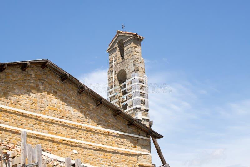 El pueblo de Amatrice y el daño causado por el terremoto Apennines, Lazio, Italia imagen de archivo libre de regalías