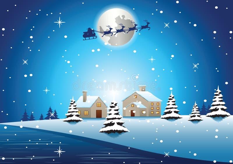El pueblo está en la noche de Navidad y la mosca de santa lejos para enviar el regalo a la víspera libre illustration