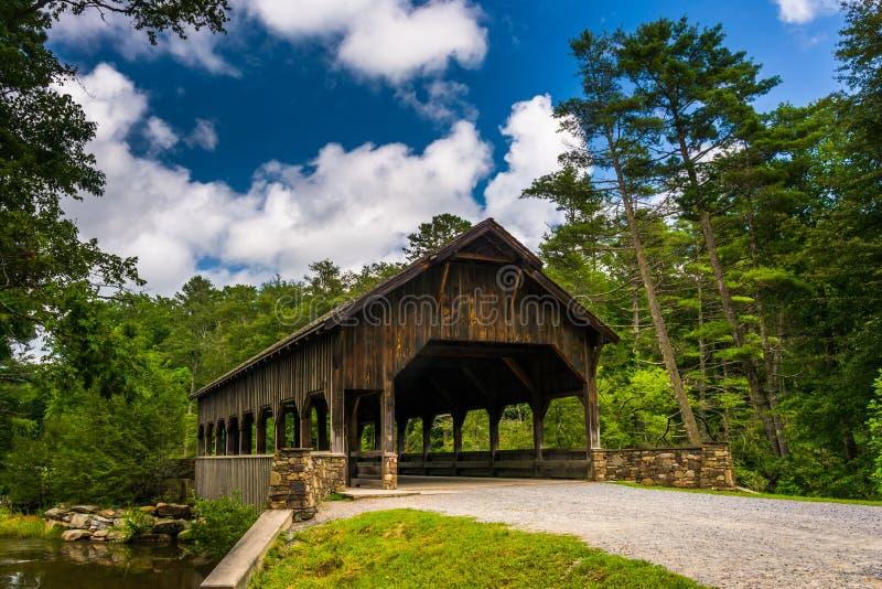 El puente cubierto sobre altas caídas, en bosque del estado de Du Pont, ni imagen de archivo libre de regalías