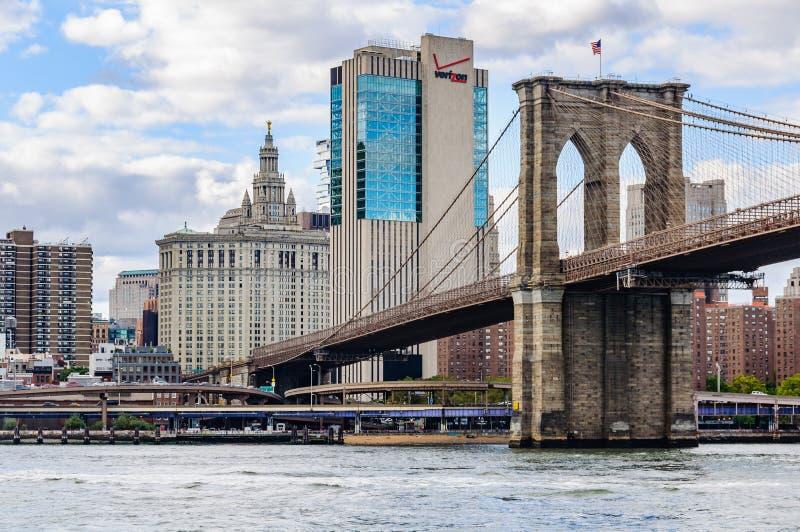 El puente de Brooklyn y los rascacielos del parque del puente de Brooklyn, Nueva York, los E.E.U.U. foto de archivo