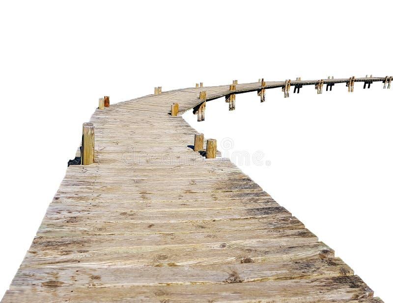 El puente de madera del sendero de viejo abre una sesión los zancos en el fondo blanco imagen de archivo libre de regalías