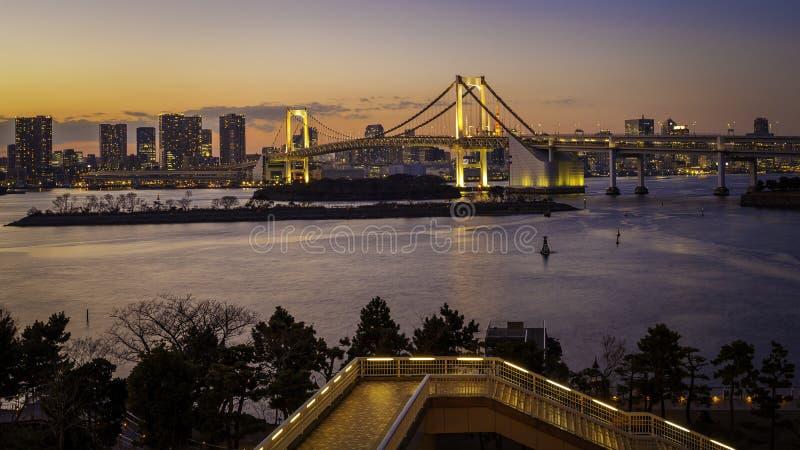 El puente de oro Tokio del arco iris fotografía de archivo libre de regalías