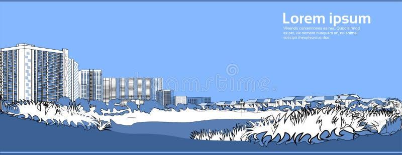 El puente de piedra sobre edificios azules de la ciudad del fondo del paisaje urbano del río ajardina el espacio horizontal de la ilustración del vector
